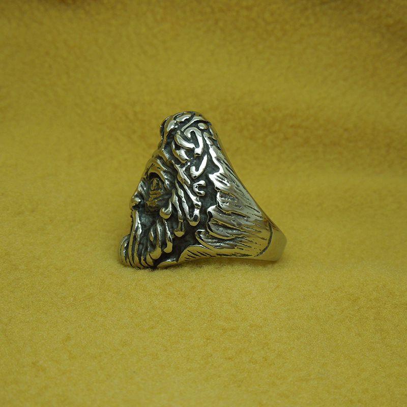 欧美朋克风摇滚风格印第安人酋长骷髅头男戒指霸气钛钢戒 hjf-mh-sa