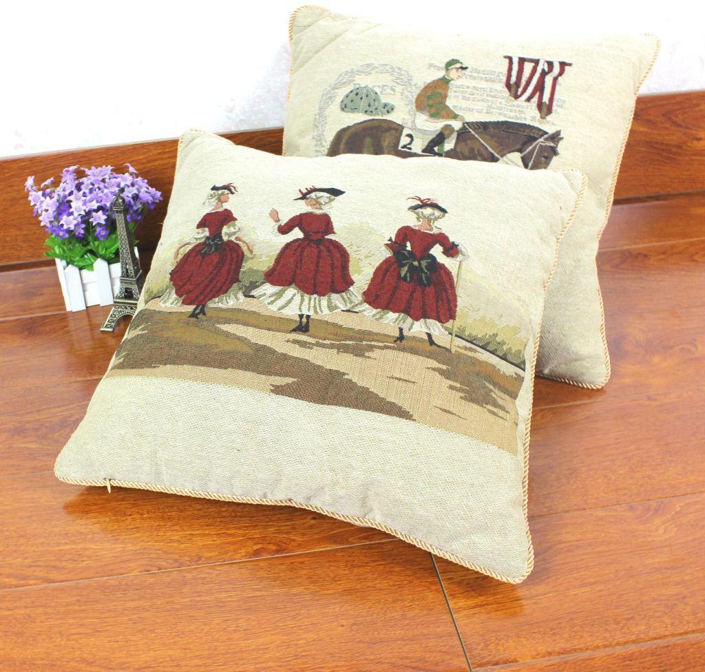 批发 色织提花欧式红裙靠垫抱枕套批发 女沙发抱枕汽车腰枕