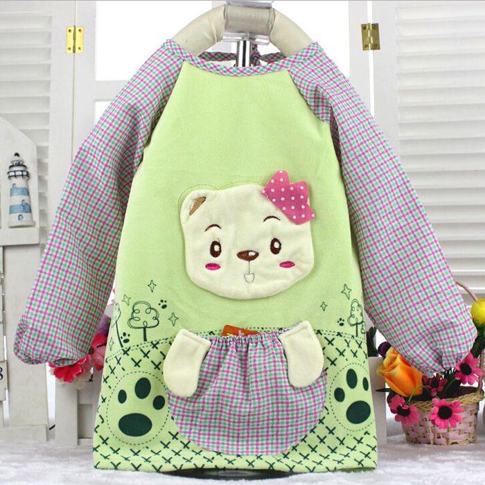 儿童防水罩衣 儿童灯芯绒反穿衣 宝宝条绒吃饭兜 纯棉