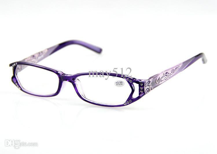 Women Reading Glasses Purple Frame Floral Design ...