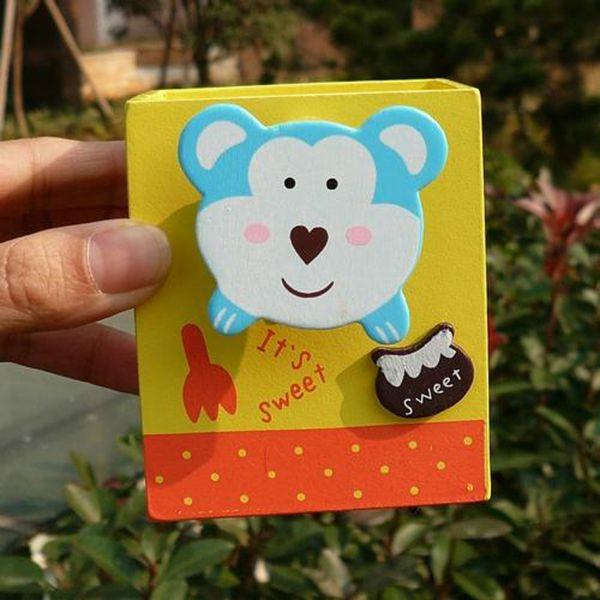 卡通动物木质笔筒带名片夹子 创意文具小学生最爱 hfxyl40