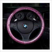 Fashion pink blue white steering wheel cover glitter car cov...