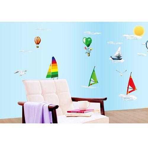 墙贴批发 第五代家居装饰 海边的帆船 透明膜pvc材质
