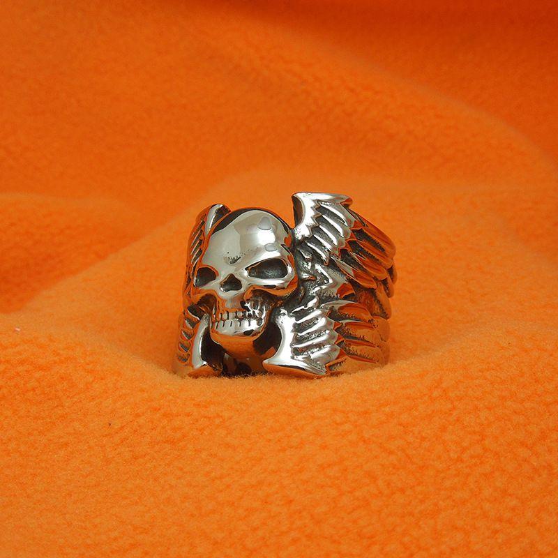 复古时尚钛钢霸气死神骷髅头戒指混乱之子型男饰品