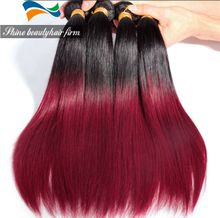 Wholesale Ombre Black to Red Virgin Hair Weft Straight Brazilian Unprocessed Hair 8-30inch Double Weft 100g/piece 1B/Red Ombre Hair
