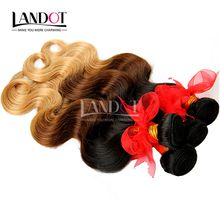 Ombre Human Hair Extensions Virgin/Brazilian Peruvian Malaysian Indian Body Wave 3 Three Tone Brown Blonde 1B/4/27# Ombre Hair Weave Bundles