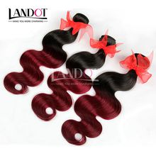 Ombre Brazilian Hair Weaves 8A Two 2 Tone 1B/99J Burgundy Wine Red Ombre Peruvian Malaysian Indian Cambodian Body Wave Human Hair Extensions