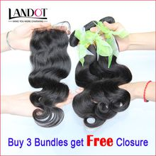 Brazilian Virgin Hair Body Wave With Lace Closure Unprocessed 8A Brazillian Remy Human Hair Weave Extensions 3 Bundles And Closures 4x4 Size