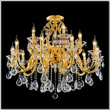 Luxurious Golden Chandelier Crystal Light Fixture Lustre Crystal Lamp Fitting Suspension Light with 100% k9 Crystal MD88008
