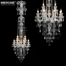 Long Crystal Chandelier Light Fixture 12 lights Clear Crystal Stair Lamp Prompt Shipping 100% Guanrantee