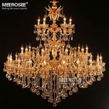 35 Arms Large Royal Golden Crystal Chandelier Lamp Lustres Cristal Suspension Project Lighting Hotel Resteruant Villa Luminaire Lights