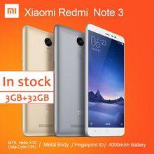 Original Xiaomi Redmi Note Cell Phone MTK Helio X10 Octa Core MIUI7 Fingerprint Metal Body 3GB 32GB 4000mAh