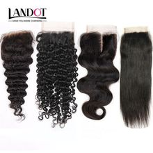 Brazilian Hair Lace Closure 4x4 Size Peruvian Malaysian Indian Cambodian Mongolian Body Wave Straight Deep Kinky Curly Human Hair Closures
