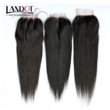 Brazilian Straight Virgin Human Hair Lace Closures Free Middle 3 Part Peruvian Malaysian Indian Cambodian Mongolian Hair Top Closure 4x4Inch