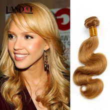 Honey Blonde Brazilian Peruvian Malaysian Indian Russian Human Hair Weave Body Wave 3/4/5 Bundles Lot Color 27# Brazilian Hair Extensions