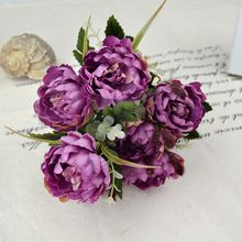 New 7Heads Artificial Silk Peony Bouquet Flowers for Restaurant Home and Supermarket Decoration