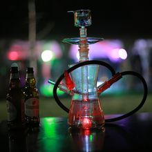 New design portable heat resistant glass hookah shisha glass nargile with colorful LED OEM ODM Hookah 588