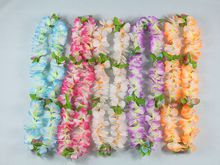 Tropical Hawaiian Luau Lei Flowers Party Supplies Hawaiian Flower Lei Garland Wreath Artificial Flowers Necklace HH0001