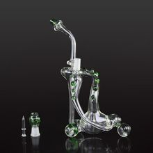 Recycler Glass Oil Rigs Glass Bongs Double Recycler Bong 25cm High 14.4mm Joint Colorful Glass Water Pipe With Oil Rigs Bong ML05002