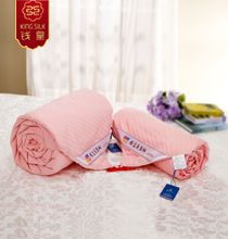 2015 new pure mulberry silk quilt 100% cotton stripe four seasons comforter silk blanket pure silk comforter 100% cotton pink blankets