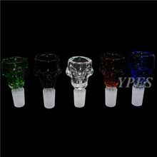2015 New Design Glass Bowls For Bongs Colored Skull Male Bowl 14.4&18.8 Thick Glass Heavy Bowl For Water Pipes YS-PJ008