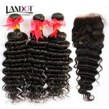 Brazilian Deep Wave Curly Virgin Hair With Lace Closure 4Pcs Lot 3 Bundles Unprocessed Human Hair Weave And Closures Natural Black Extension