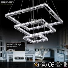 Square Crystal LED Ceiling Light Fixture Pendant Lighting 5 Squares Crystal Chandelier Stair Lighting for Hotel, Hallway, Villa