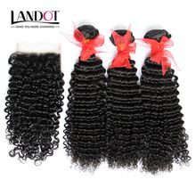 Brazilian Kinky Curly Virgin Hair With Lace Closure 4 Bundles Lot Unprocessed Deep Curly Human Hair Weaves Closures Natural Black Extensions