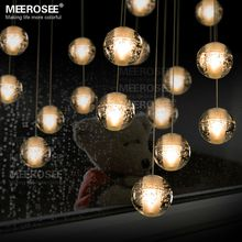 Modern decoration LED Crystal Bubbles Ball Light Dinning Pendant Light Fixture with LED Bulbs Mounted Base Crystal Hanging Lamp