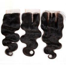 Brazilian Body Wave Virgin Human Hair Lace Closures Free Middle 3 Part 7A Peruvian Malaysian Indian Cambodian Mongolian Hair Closure 4x4Inch