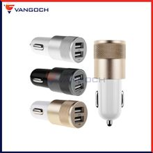 Metal Alloy Shell Universal 2.1A Dual USB 2 Port Car Charger Auto Charging adapter For Smart Mobile Phone