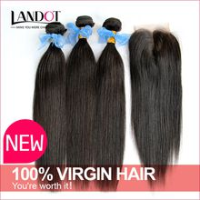Cambodian Straight Virgin Hair With Lace Closure Grade 8A Unprocessed Remy Human Hair Weave 3 Bundles And 1Pc Closures Natural Color Dyeable