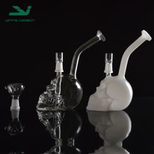 "Recycler Oil Rigs Glass Bongs Water Pipes Skull Hookah Wholesale Mothership glass transparent 6.5""skeleton hookahs"