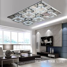 Free Shipping Modern LED Crystal Light Square Surface Mounted Lamp Crystal Chandeliers Ceiling Light Fixture For Foyer Living Room