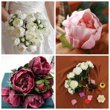 Artificial Flowers 28CM Real Touch Wedding Peony Bouqeut Ivory/Cream for DIY Bouquets