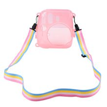 Clear Pink Hard Shell Protective Cover Case for Fujifilm Instax Mini 8/ 8+ Instant Film Camera with Rainbow Shoulder Strap