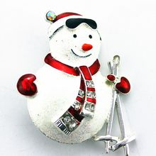 Free shipping fashion jewelry alloy restoring ancient ways ms white joker snowman sweater accessories brooch