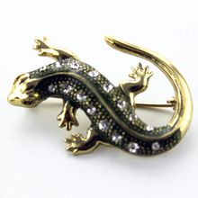 Free shipping popular black gecko women deserve to act the role of restoring ancient ways alloy semi-precious stones coat brooch