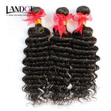 Brazilian Deep Wave Curly Virgin Hair 3 Bundles Lot Grade 7A Unprocessed Brazilian Human Hair Weave Double Weft Nature Black Remy Extensions
