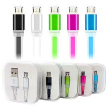 Candy color Micro Usb Cable Coloful Flat Noodle Date Sync Charging Flashing Cable for Micro/V8 Smart phone With the packing