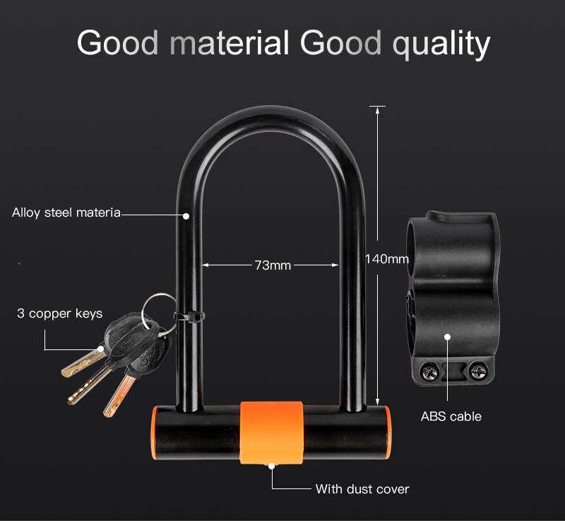 INBIKE Durable Using High Quality Outdoor Steel Cycling Bike U lock with cable set