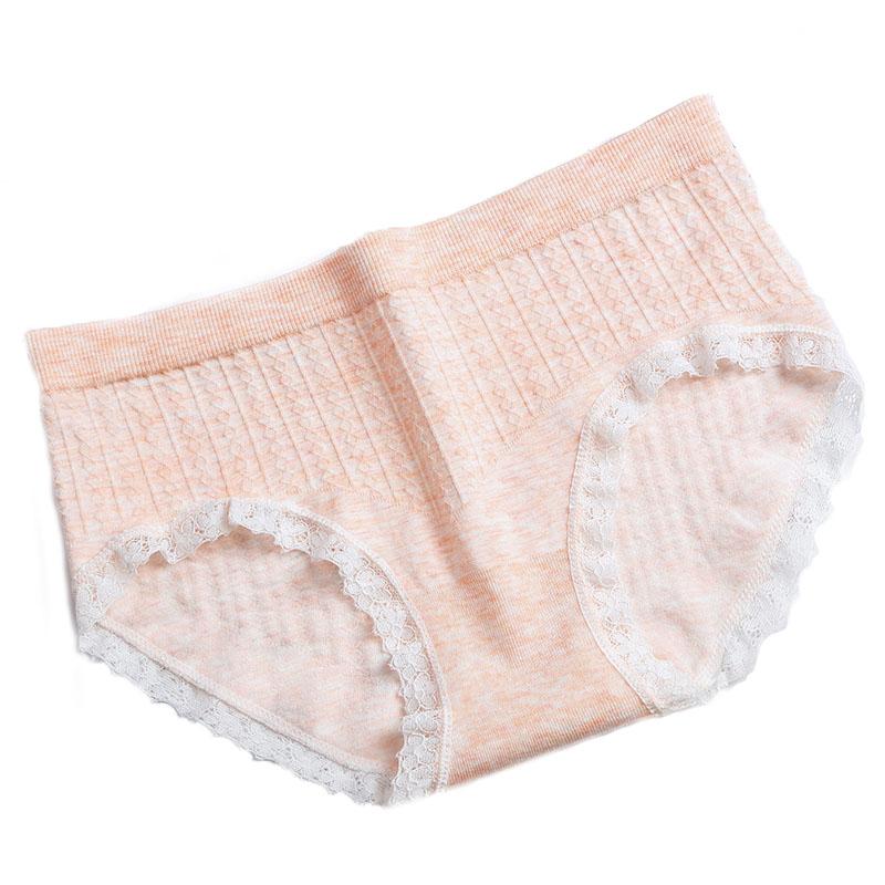 New Fashion Lingerie Women Panties Soft Breathable Striped Cotton Plaid Briefs Low Waist Japanese Style With Lace Edge Wholesale 503