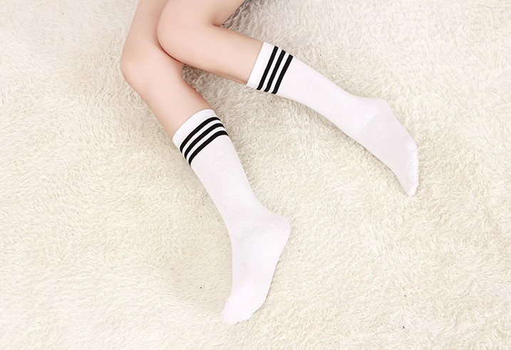 New long tube men's cotton socks tide tube socks striped football socks