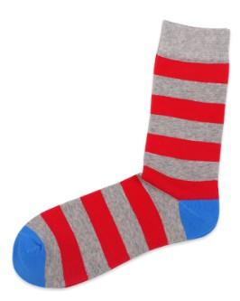 New long tube men's cotton socks spring and autumn thin tide tube socks Pop stripes stripes