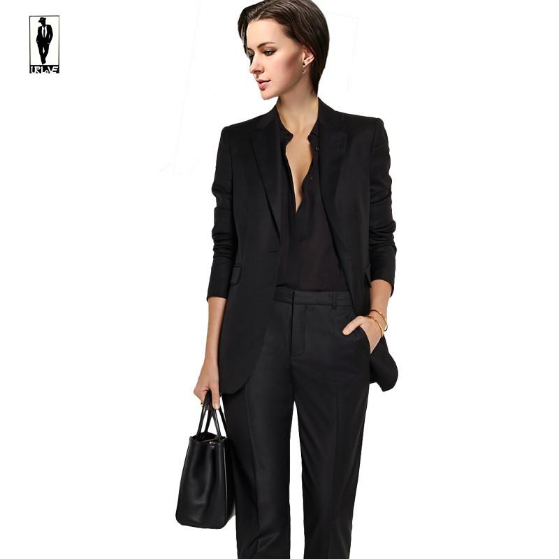 black trend jacket pants office uniform bussiness ladies office wear