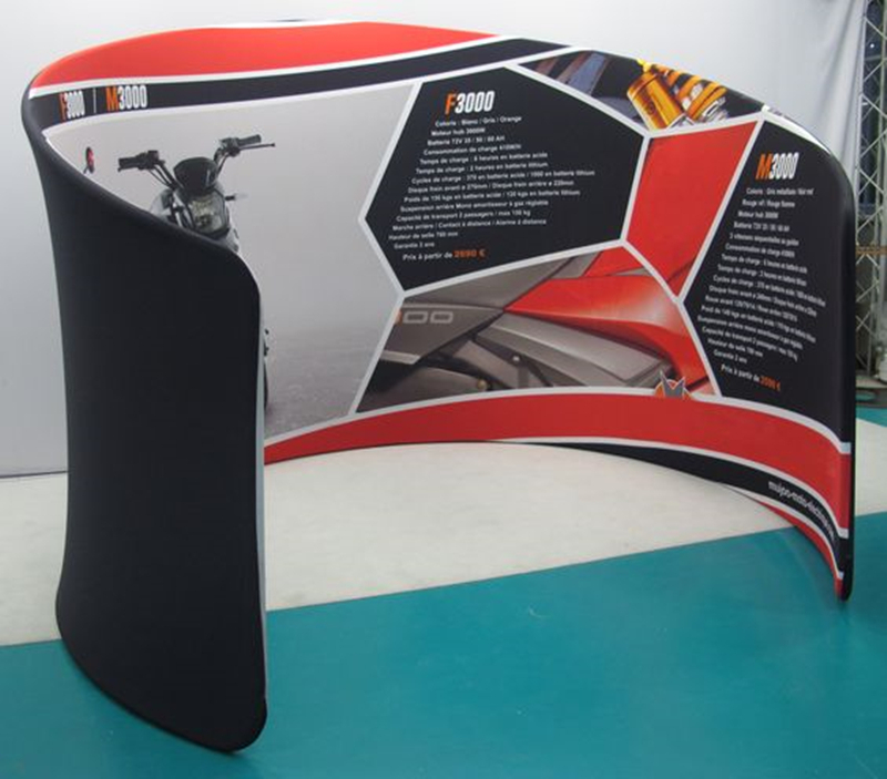 Smart Expo Trade Show Semi-Circle Booth Portable Advertising Tension Fabric Display Stand with Aluminum Tubes Structure Custom Printing