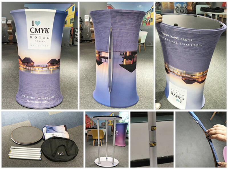 Smart Expo Portable Tension Fabric Promotion Folding Table for Trade Show Booth with Custom Printing Graphic Carry Bag