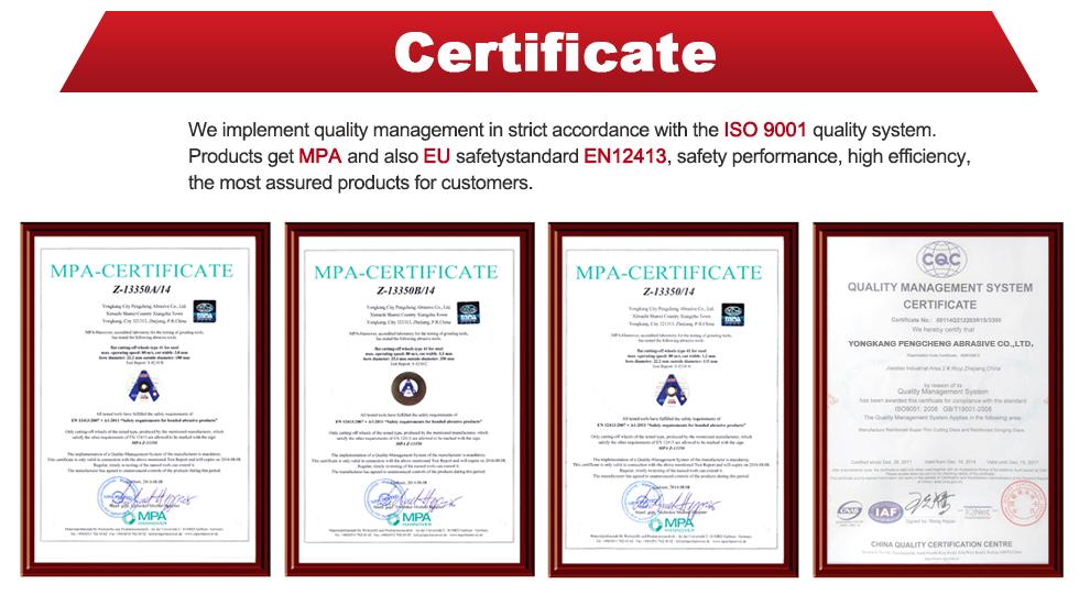 High Quality Mpa Certificate Abrasive Resin Reinforce Metal Cutting
