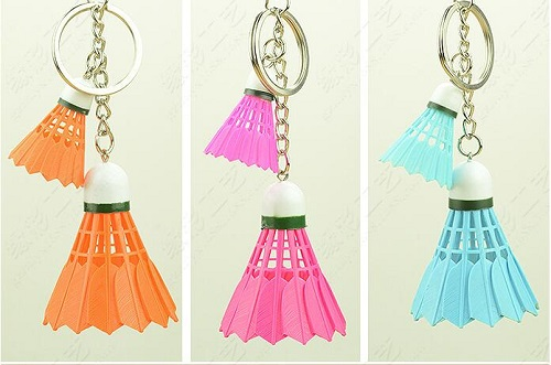 High quality shuttlecock style key chain,mini shuttlecock pendant,stainless-steel buckle high quality plastic resin invariable type