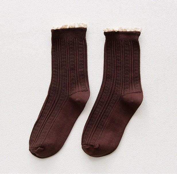 Sen Department of cotton side piles of socks retro art socks women's tube socks short boots socks Korean version of cotton student girls